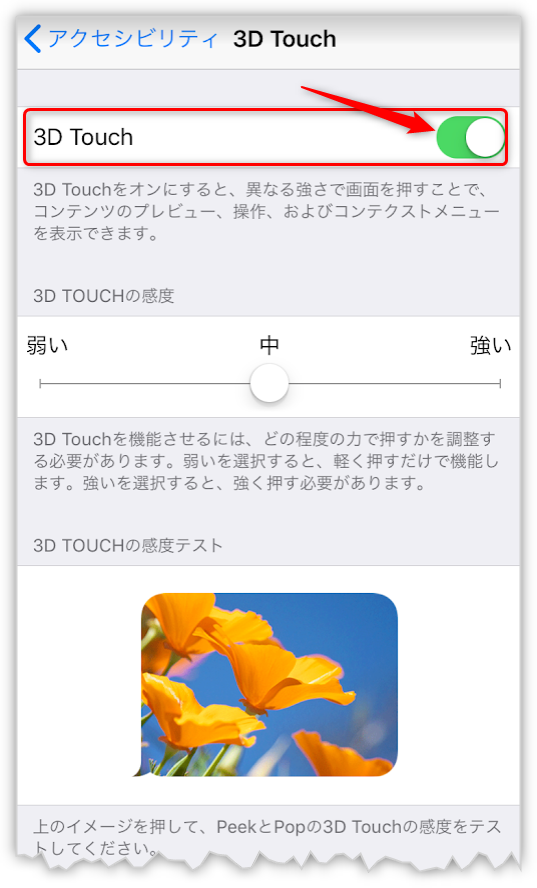 iPhoneの3D Touchの設定画面
