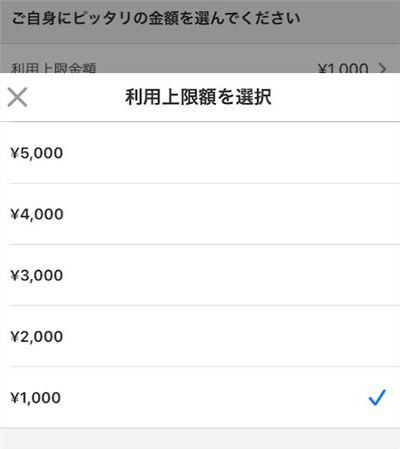 メルペイスマート払いの利用上限金額を選択
